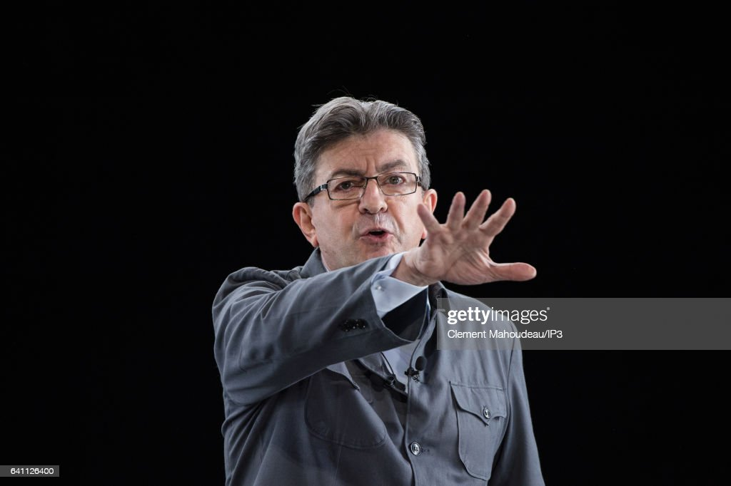 Jean-Luc Melenchon Rally In Lyon Live Streamed In Paris Via Hologram