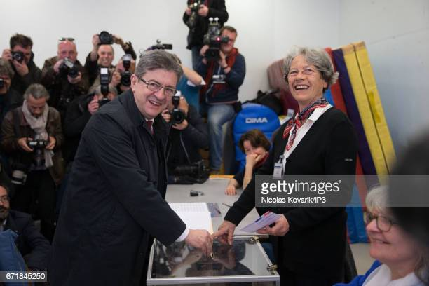 Founder of the left wing movement 'La France Insoumise' and candidate for the 2017 French Presidential Election Jean Luc Melenchon votes in the first...