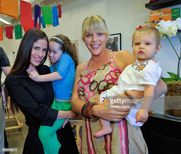 Founder of The Little Seed Soleil Moon Frye and daughter Poet Sienna Rose Goldberg actress Busy Philipps and daughter Birdie Leigh Silverstein attend...