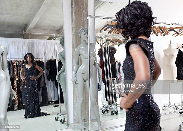 Founder of the new African Empower Suzanne Africa Engo attends a fitting at Marc Bouwer on June 1 2011 in New York City