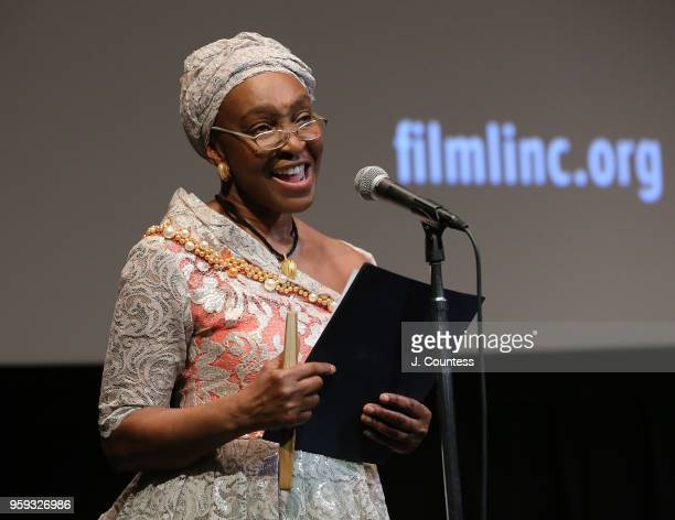 Founder of the New York African Film Festival Mahen Bonetti speaks at the opening night of the 25th African Film Festival at Walter Reade Theater on...