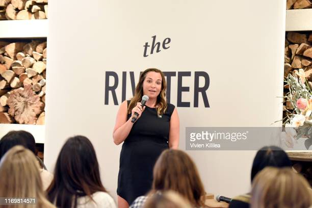 Founder of The Riveter Amy Nelson speaks during The Riveter's Elevating Women In Their Work PopUp Event at Farmhouse on August 23 2019 in Los Angeles...