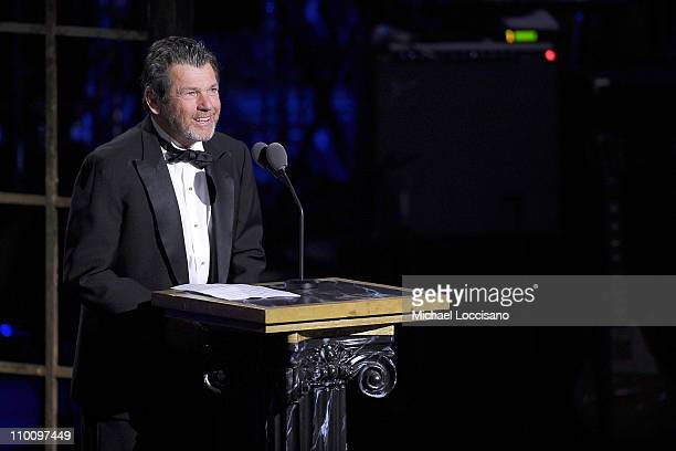 Founder of the Rock and Roll Hall of Fame Foundation Jann Wenner speaks onstage at the 26th annual Rock and Roll Hall of Fame Induction Ceremony at...