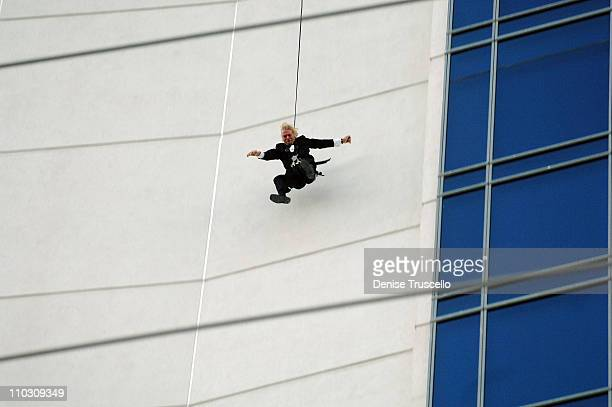 Founder of the Virgin Group Richard Branson stunts off The Palms Fantasy Tower at The Palms Casino Resort on October 10 2007 in Las Vegas Nevada