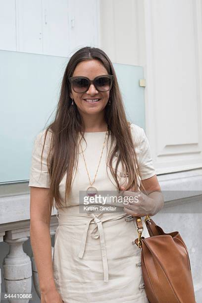 Founder of the Webster boutique Laure Heriard Dubreuil wears an Altuzarra dress and Celine sunglasses on day 3 of Paris Collections Men on June 24...