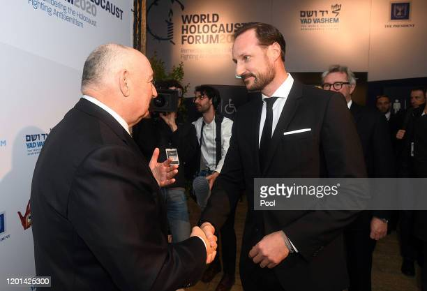 Founder of the World Holocaust Forum Dr Moshe Kantor greets Crown Prince Haakon of Norway during the Fifth World Holocaust Forum on January 23 2020...