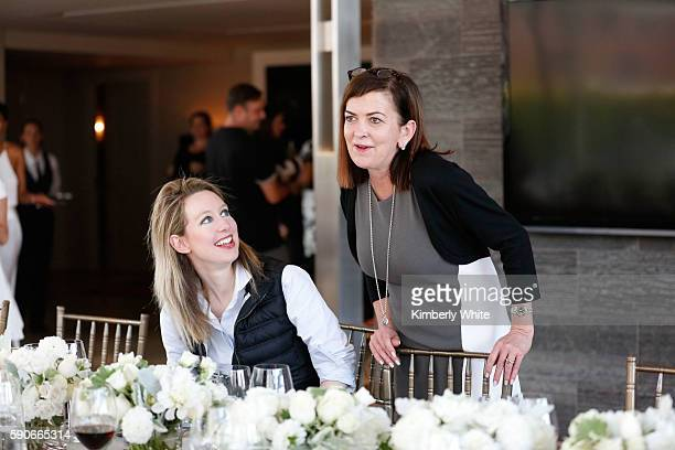 CEO Founder of Theranos Elizabeth Holmes and Partner at Egon Zehnder Martha Josephson attend the Women In Technology and Politics dinner hosted by...