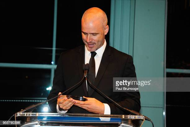 Founder of To Write Love on Her Arms Jamie Tworkowski accepts the Community Builder Award during the 2018 Change Maker Awards at Carnegie Hall on May...