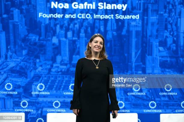 Founder of Trust Collab Noa Gafni speaks onstage during the 2018 Concordia Annual Summit Day 1 at Grand Hyatt New York on September 24 2018 in New...