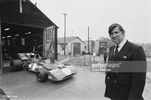 Founder of Tyrrell Racing Ken Tyrrell with the new car to race in the 1973 BRDC International Trophy meeting at Silverstone, under construction at...