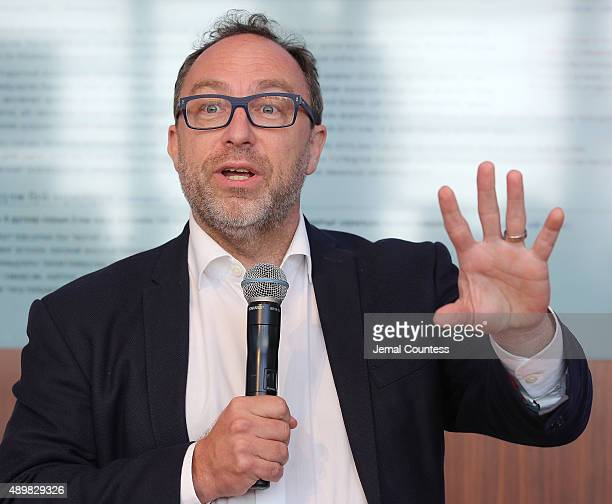 Founder of wikipedia Jimmy Wales speaks at the premiere of Global Goals 60 second Cinema Ad at the United Nations on September 24 2015 in New York...