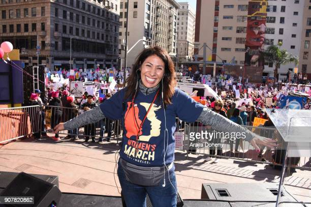 Founder of Women's March LA Emiliana Guereca at 2018 Women's March Los Angeles at Pershing Square on January 20 2018 in Los Angeles California