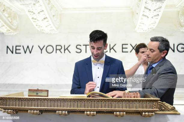 Founder of World Emoji Day Jeremy Burge Actor Jake T Austin and Vice President of the NYSE Listings and NYSE Services Chris Taylor ring The Closing...