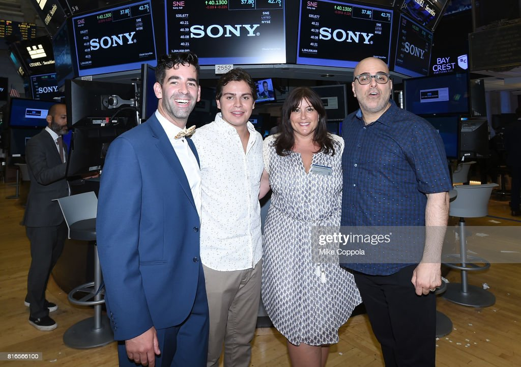 Founder of World Emoji Day Jeremy Burge, Actor Jake T. Austin, Producer Michelle Raimo Kouyate and Director Tony Leondis ring The Closing Bell Of The New York Stock Exchange In Honor Of World Emoji Day at New York Stock Exchange on July 17, 2017 in New York City.
