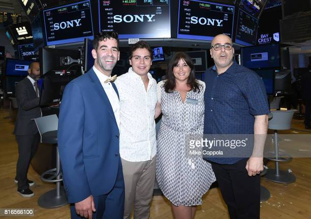 Founder of World Emoji Day Jeremy Burge Actor Jake T Austin Producer Michelle Raimo Kouyate and Director Tony Leondis ring The Closing Bell Of The...