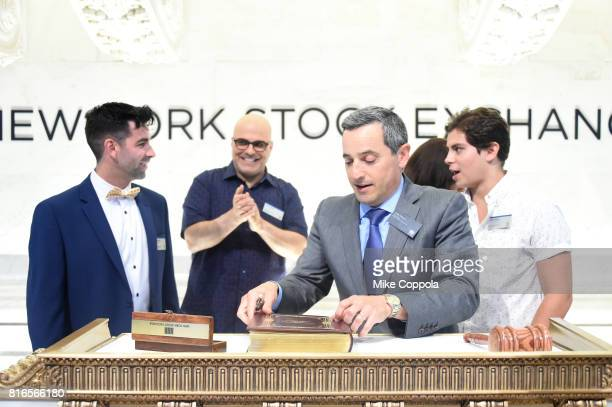 Founder of World Emoji Day Jeremy Burge Director Tony Leondis Vice President of the NYSE Listings an NYSE Services Chris Taylor and Actor Jake T...