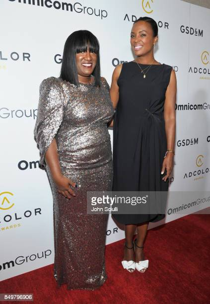 Founder President Tiffany R Warren and host Aisha Tyler attend the 11th Annual ADCOLOR Awards at Loews Hollywood Hotel on September 19 2017 in...