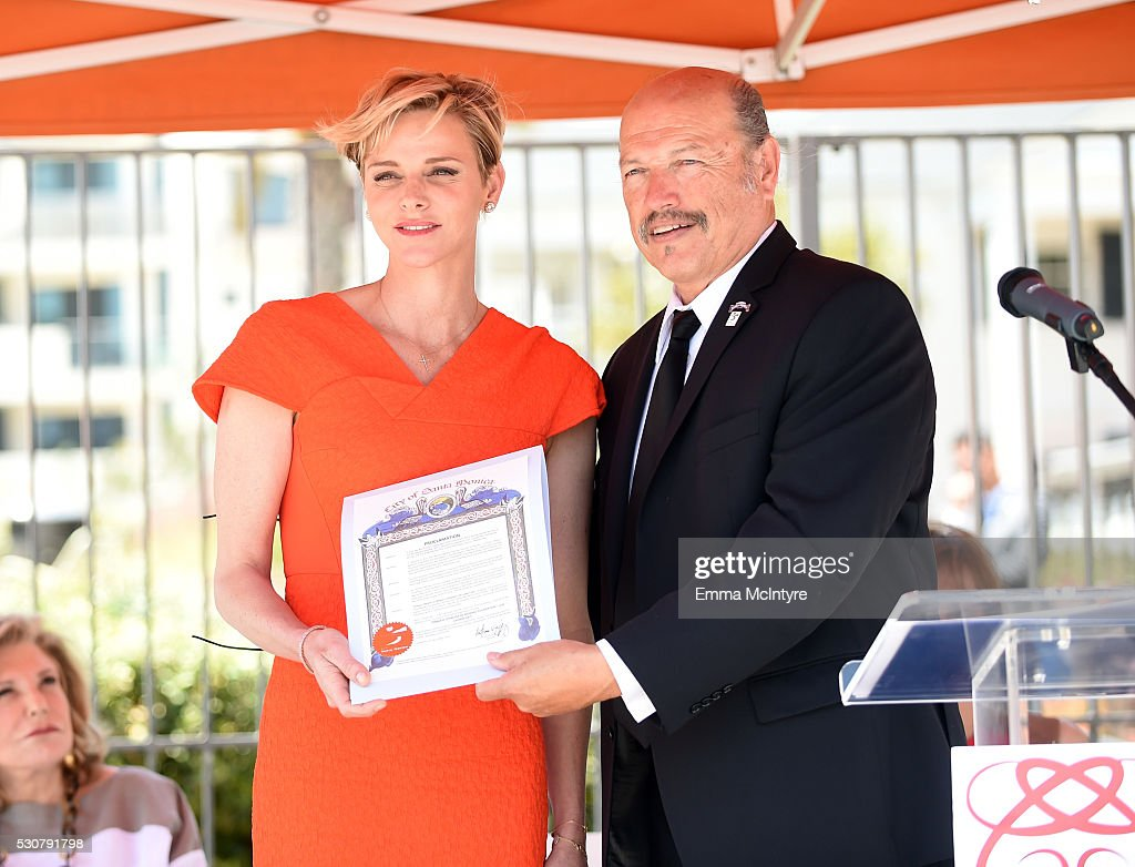 Founder, Princess Charlene of Monaco Foundation, Princess Charlene of Monaco (L) and City of Santa Monica Mayor Tony Vazquez speak onstage during The Princess Charlene of Monaco Foundation-USA Official Launch at the Annenberg Community Beach House on May 12, 2016 in Santa Monica, California.