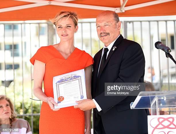 Founder Princess Charlene of Monaco Foundation Princess Charlene of Monaco and City of Santa Monica Mayor Tony Vazquez speak onstage during The...