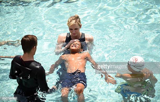 Founder Princess Charlene of Monaco Foundation Princess Charlene of Monaco teaches children how to swim and practice water safety at The Princess...