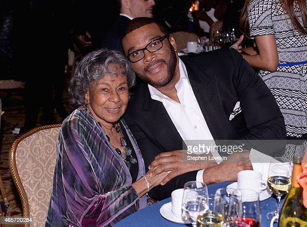 Founder Rachel Isum Robinson and Tyler Perry attend the Jackie Robinson Foundation Awards Dinner at Waldorf Astoria Hotel on March 9 2015 in New York...