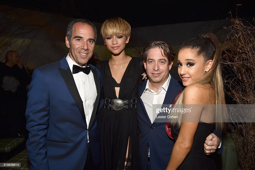 Founder Republic Records Monte Lipman, actress/singer Zendaya, EVP Republic Records Charlie Walk and singer-songwriter Ariana Grande attend Universal Music Group 2016 Grammy After Party presented by American Airlines and Citi at The Theatre at Ace Hotel Downtown LA on February 15, 2016 in Los Angeles, California.