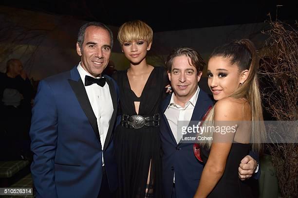 Founder Republic Records Monte Lipman actress/singer Zendaya EVP Republic Records Charlie Walk and singersongwriter Ariana Grande attend Universal...