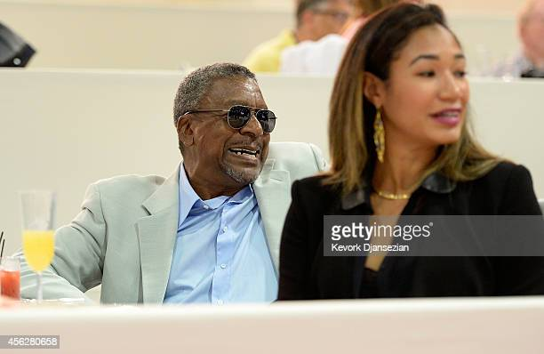 BET founder Robert Johnson and Lauren Wooden celebrate after Paige Johnson won the Airbus Grand Prix class as part of the Longines Los Angeles...