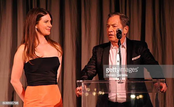 Founder Rochelle Gores Fredston and Alec Gores speak onstage during the PSLA Winter Gala on February 6 2016 in Beverly Hills California