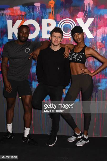 Founder Shane Collins with KOBOX Trainer Antoine Dunn and sister Jourdan Dunn kick of the KOBOX city studio with a boxing workout on February 21 2017...