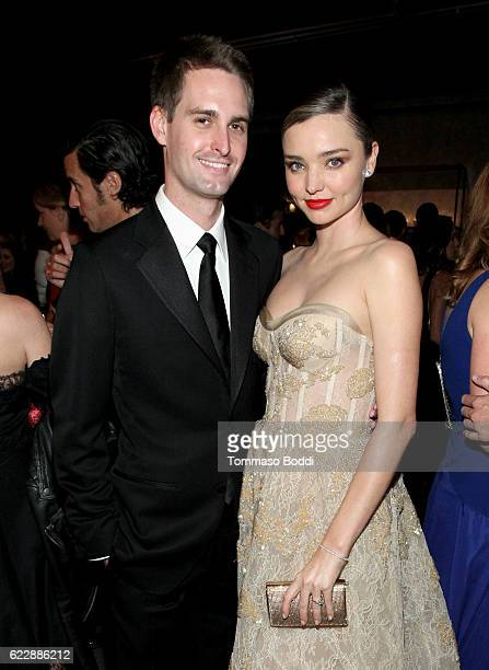 Founder, Snapchat Evan Spiegel and model Miranda Kerr attend the Fifth Annual Baby2Baby Gala, Presented By John Paul Mitchell Systems at 3LABS on...