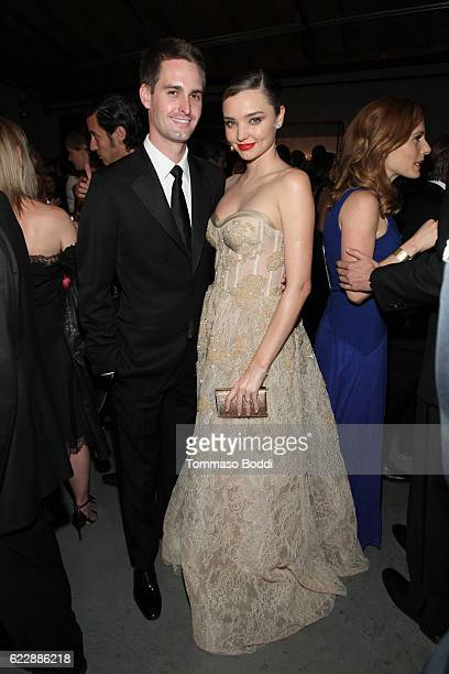 Founder Snapchat Evan Spiegel and model Miranda Kerr attend the Fifth Annual Baby2Baby Gala Presented By John Paul Mitchell Systems at 3LABS on...