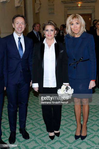 Founder Stephane Bern Grand Duchess Maria Theresa of Luxembourg and Brigitte Macron attend the 2018 Prize of the Stephane Bern Institut de France...