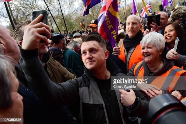 EDL founder Tommy Robinson takes part in a UKIPbacked Brexit betrayal rally on December 09 2018 in London England The demonstration takes place three...