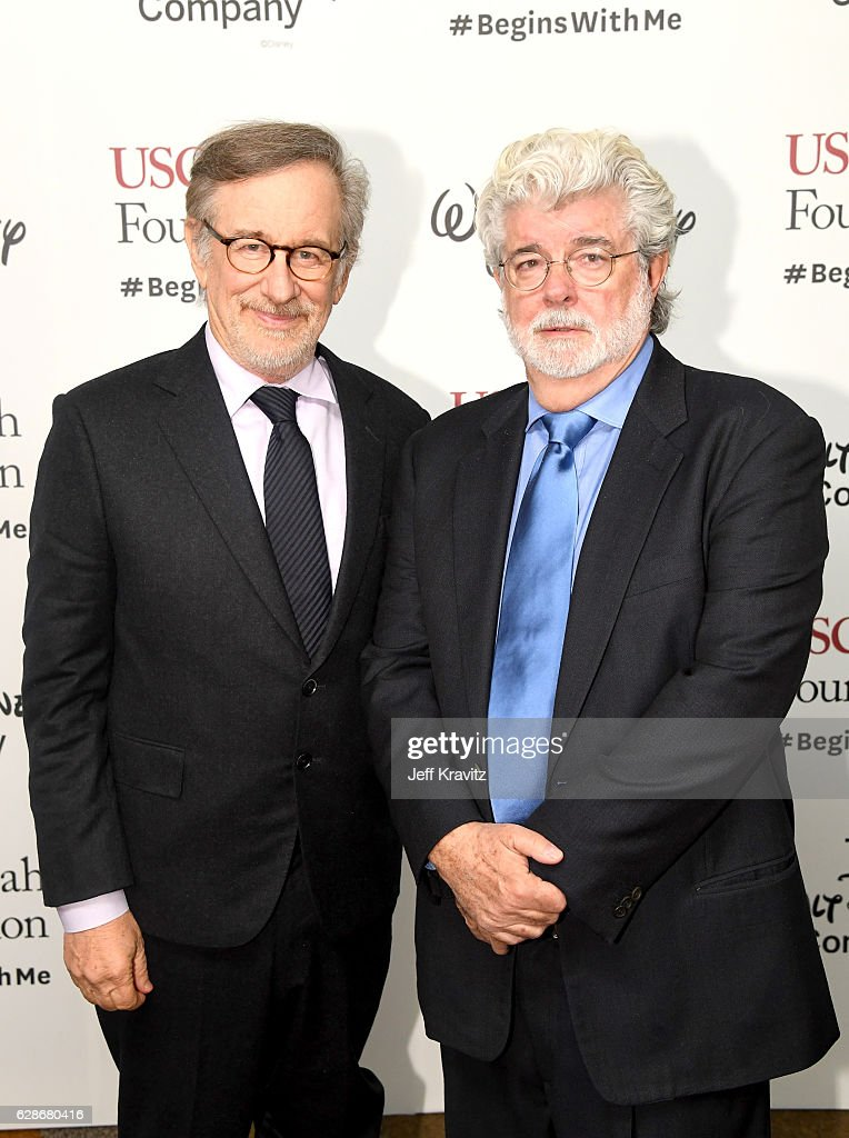 Founder, USC Shoah Foundation Steven Spielberg (L) and honoree George Lucas attend Ambassadors for Humanity Gala Benefiting USC Shoah Foundation at The Ray Dolby Ballroom at Hollywood & Highland Center on December 8, 2016 in Hollywood, California.