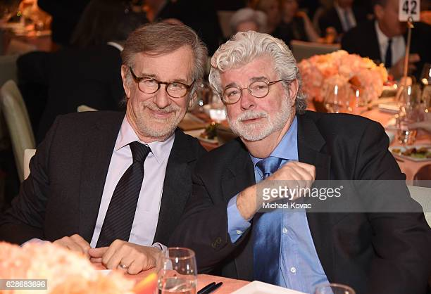 Founder USC Shoah Foundation Steven Spielberg and honoree George Lucas attend Ambassadors for Humanity Gala Benefiting USC Shoah Foundation at The...
