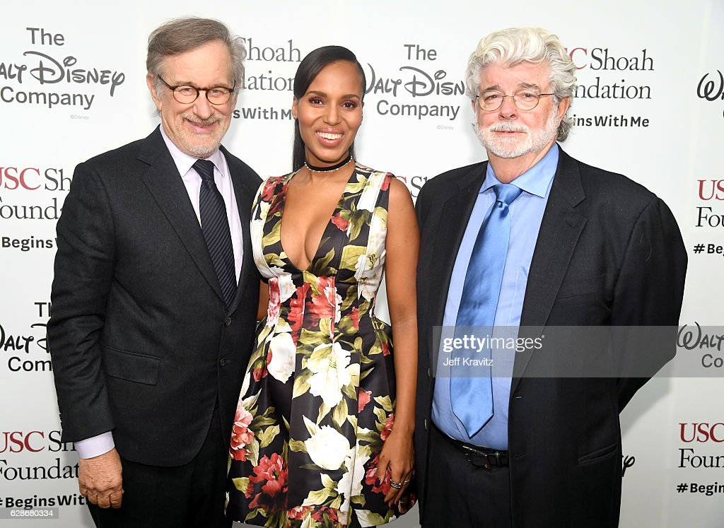 Founder, USC Shoah Foundation Steven Spielberg, Kerry Washington and honoree George Lucas attend Ambassadors for Humanity Gala Benefiting USC Shoah Foundation at The Ray Dolby Ballroom at Hollywood & Highland Center on December 8, 2016 in Hollywood, California.