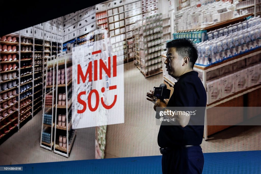 MINISO founder Ye Guofu gives a speech on the stage during New Retail Innovation Development Summit 2018 on August 10,2018 in Wuhan, DongXihu district.Hubei province.China.