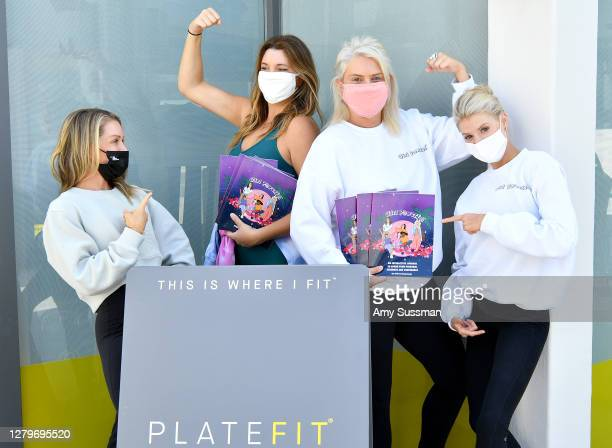 Founder/CEO of PLATEFIT Rachael Blumberg, Sonya Serge, Tedi Serge, and Charlotte McKinney attend the International Day of the Girl fundraiser class...