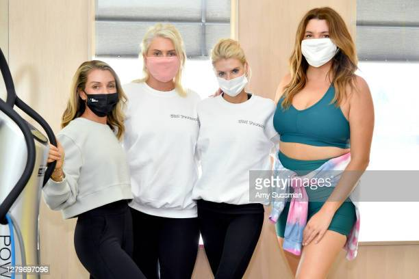 Founder/CEO of PLATEFIT Rachael Blumberg, Tedi Serge, Charlotte McKinney, and Sonya Serge attend the International Day of the Girl fundraiser class...