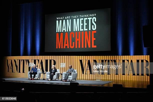 Founder/chairman of Udacity Sebastian Thrun director of DARPA Arati Prabhakar and coanchor of CNBC's Squawk Alley Jon Fortt speak onstage during What...