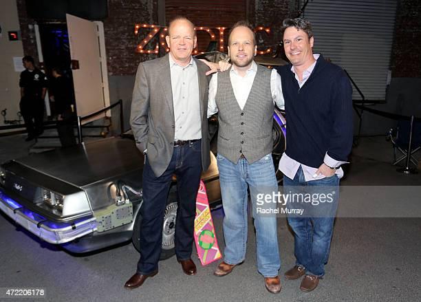 Founder/president of Zodiac Vodka Tom Benson CEO of Zodiac Vodka Dan Liguori and Neil Waterman of Zodiac Vodka attend an exclusive launch party...