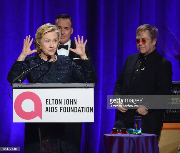 Founders Award Honoree Hillary Rodham Clinton speaks onstage at the Elton John AIDS Foundation's 12th Annual An Enduring Vision Benefit at Cipriani...