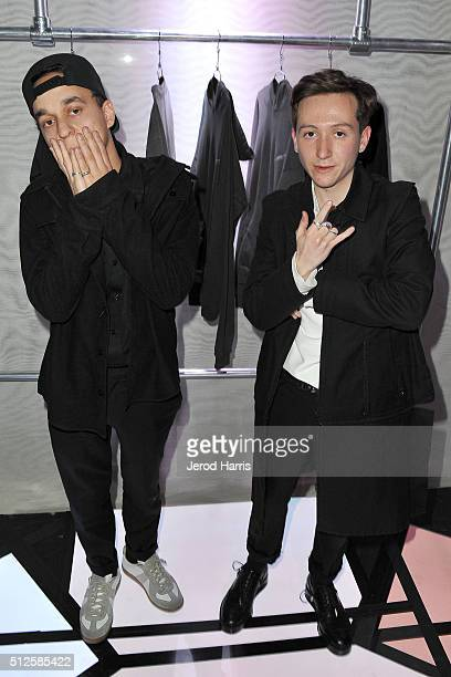 FAUX founders Caleb Castillo and Ryan Friedlinghaus Jr attend the PAS DE FAUX fashion installation at the EPOCH Creative Exhibit on February 26 2016...