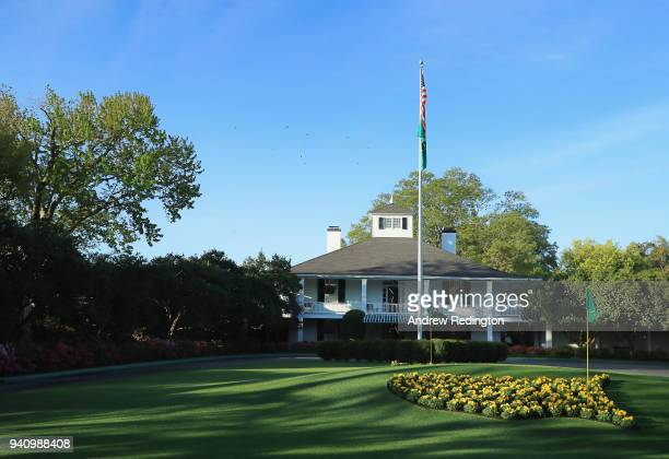 Founders Circle and the clubhouse are seen during a practice round prior to the start of the 2018 Masters Tournament at Augusta National Golf Club on...