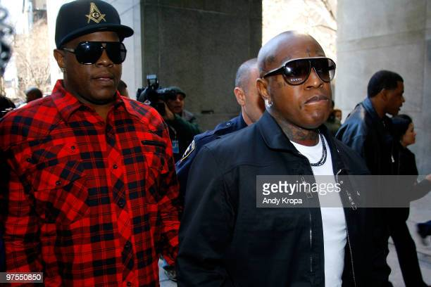 Founders of Cash Money Records Ronald Slim Williams and Bryan Birdman Williams arrive at New York State Supreme Court where Dwayne Carter known as...