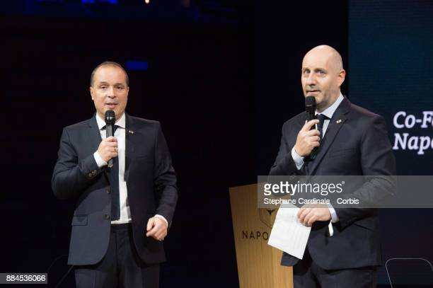 Founders of 'Les Napoleons' Mondher Abdennadher and Olivier Moulierac speak at a conference at Maison de la Radio on December 2 2017 in Paris France...