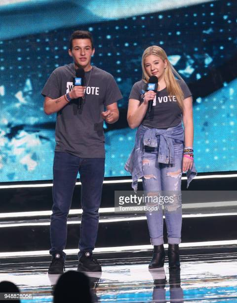 Founders of the #neveragain movement and organizers of the March for our Lives Cameron Kasky and Jacqueline Coren speak onstage at WE Day California...