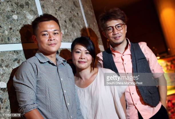 Founders of Windmill Grass Theatre Company Joey Leung Choyiu Shaw Meikwan and Edmond Tong Chunyip pose for picture in Kwai Fong 05OCT12