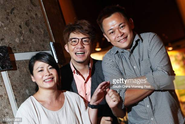 Founders of Windmill Grass Theatre Company Shaw Meikwan Edmond Tong Chunyip and Joey Leung Choyiu pose for picture in Kwai Fong 05OCT12